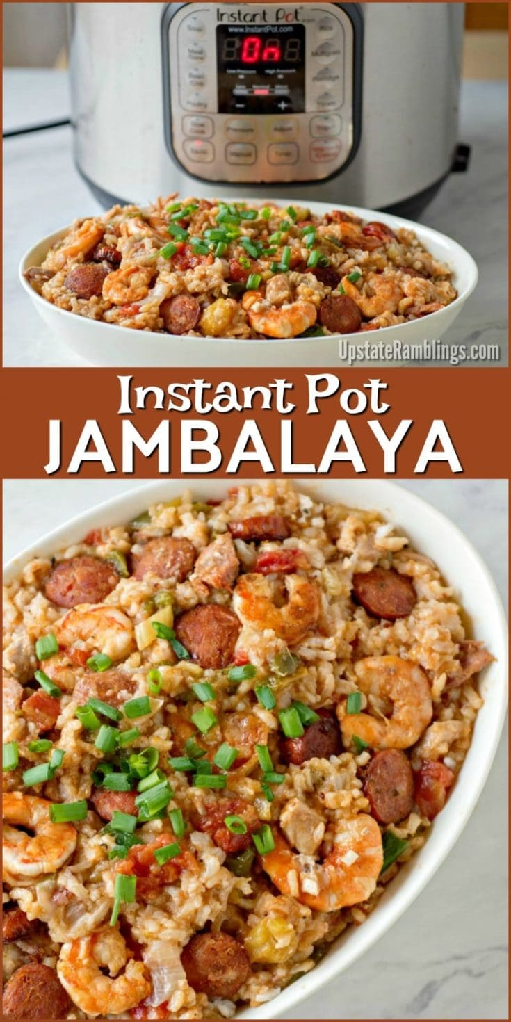 This Instant Pot Jambalaya recipe is a Cajun inspired one dish recipe with shrimp, andouille sausage, chicken and rice that will make a spicy dinner. Using a pressure cooker makes it a quick and easy weeknight dinner! #instantpot #jambalaya #dinner #cajun