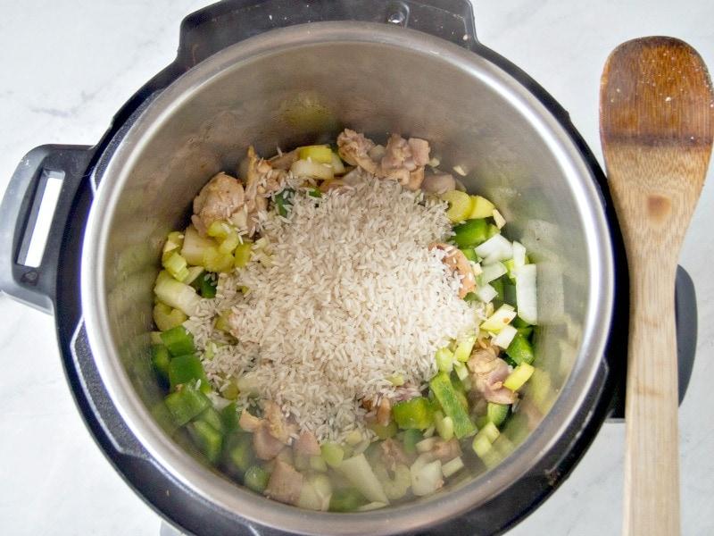 Making Instant Pot Jambalaya