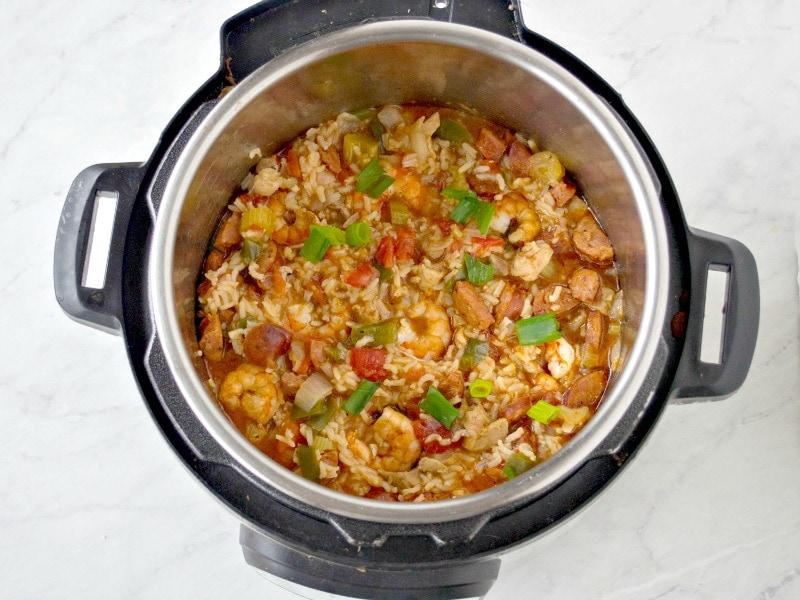 The instant pot jambalaya after pressure is released