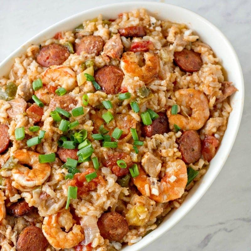 Jambalaya made in the Instant Pot with sausage, shrimp and chicken