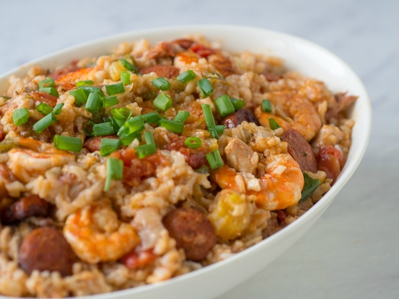 Easy chicken and sausage jambalaya made in the instant pot