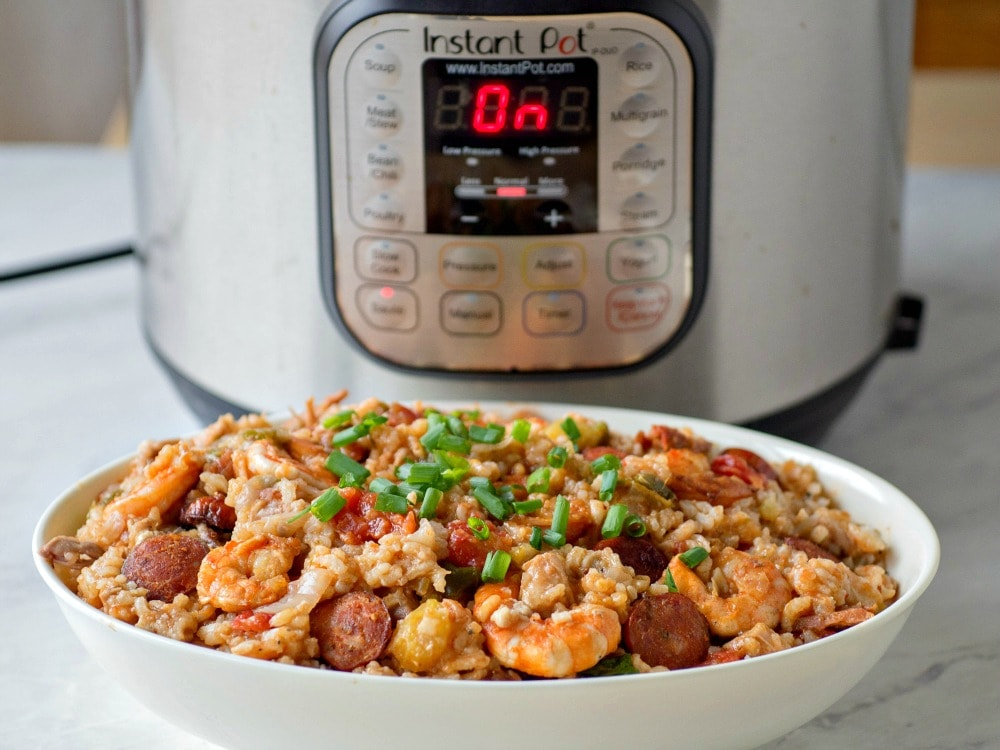 Pressure cooker jambalaya with shrimp, andouille sausage and chicken