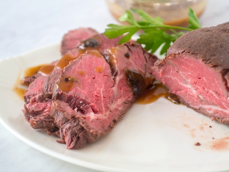 whole beef tenderloin cooked with sous vide cooker