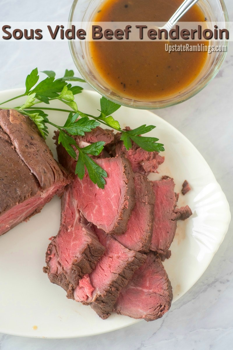 This recipe for Sous Vide Beef Tenderloin gives you the perfect roast every time. And an elegant beef tenderloin is the perfect centerpiece for a special dinner like Christmas Day or New Year's that is delicious and surprisingly easy to make. #beeftenderloin #sousvide #christmasdinner