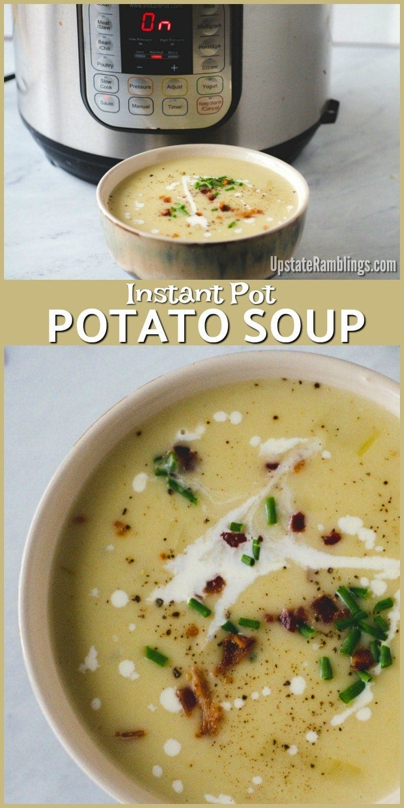 This recipe for Instant Pot Potato Soup is creamy and delicious, yet it is quick and easy to make. The pressure cooker soup is a creamy combination of potatoes and vegetables, topped off with all your favorite baked potato toppings - sour cream, bacon, cheese and more. Potato soup is a great comfort food for a cold and blustery winter day! #instantpot #pressurecooker #potatosoup