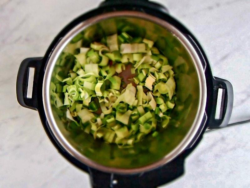 cooking leeks for the Intant Pot potato leek soup