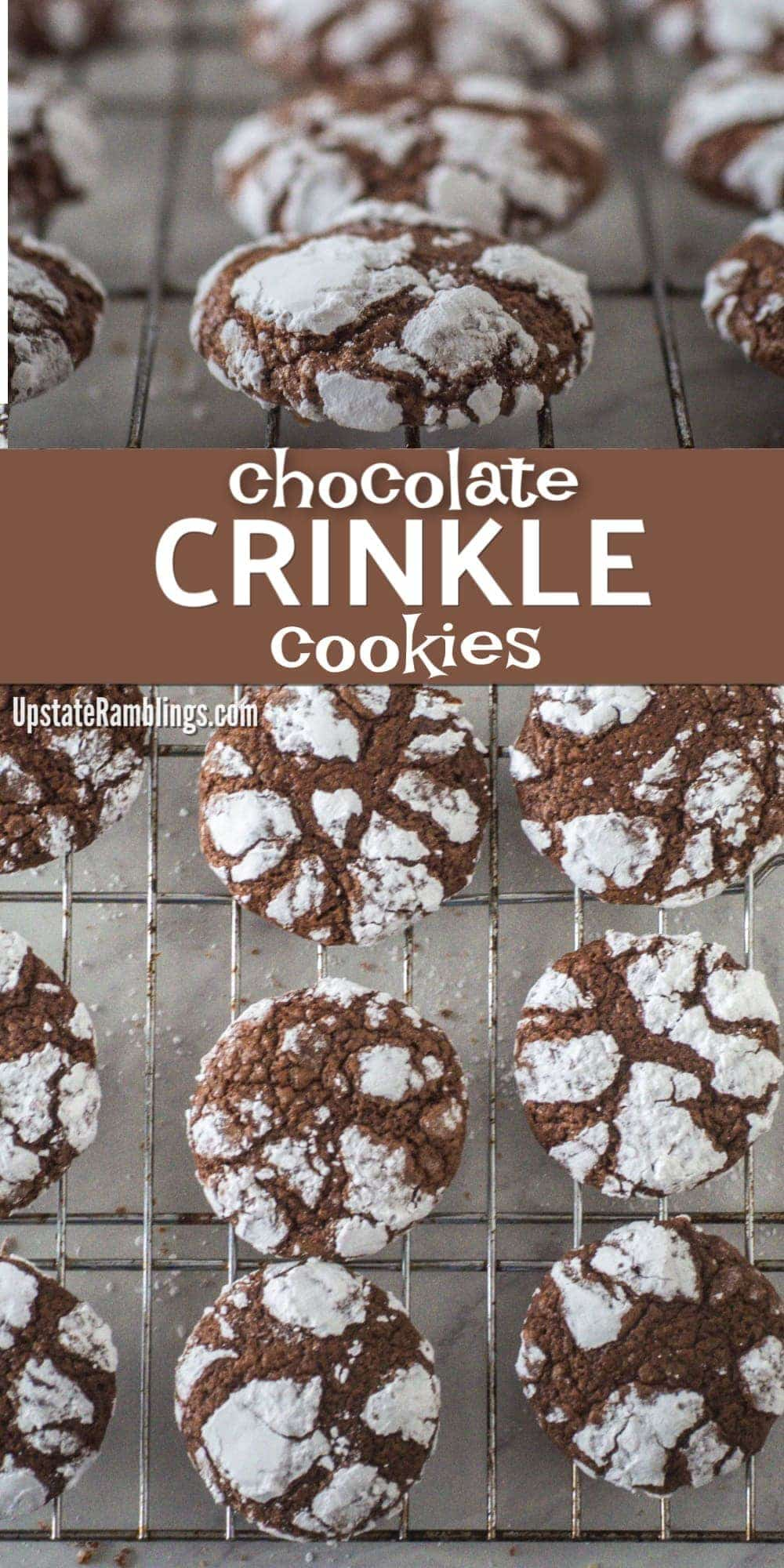 These Chocolate Crinkle Cookies are a classic chocolate cookie. The cookies are soft and chewy, with a gooey center, like a fudgy brownie. This dairy free cookie is easy and fun to make and will satisfy your sweet tooth. They are a traditional Christmas cookie, but tasty enough to make year round! #chocolatecookies #crinklecookies