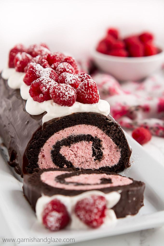 Chocolate Raspberry Swiss Roll Cake