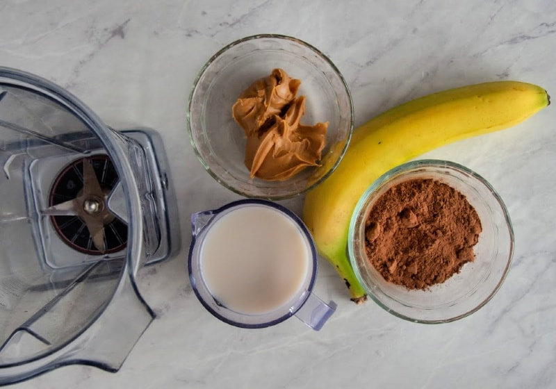 Ingredients for healthy peanut butter smoothie