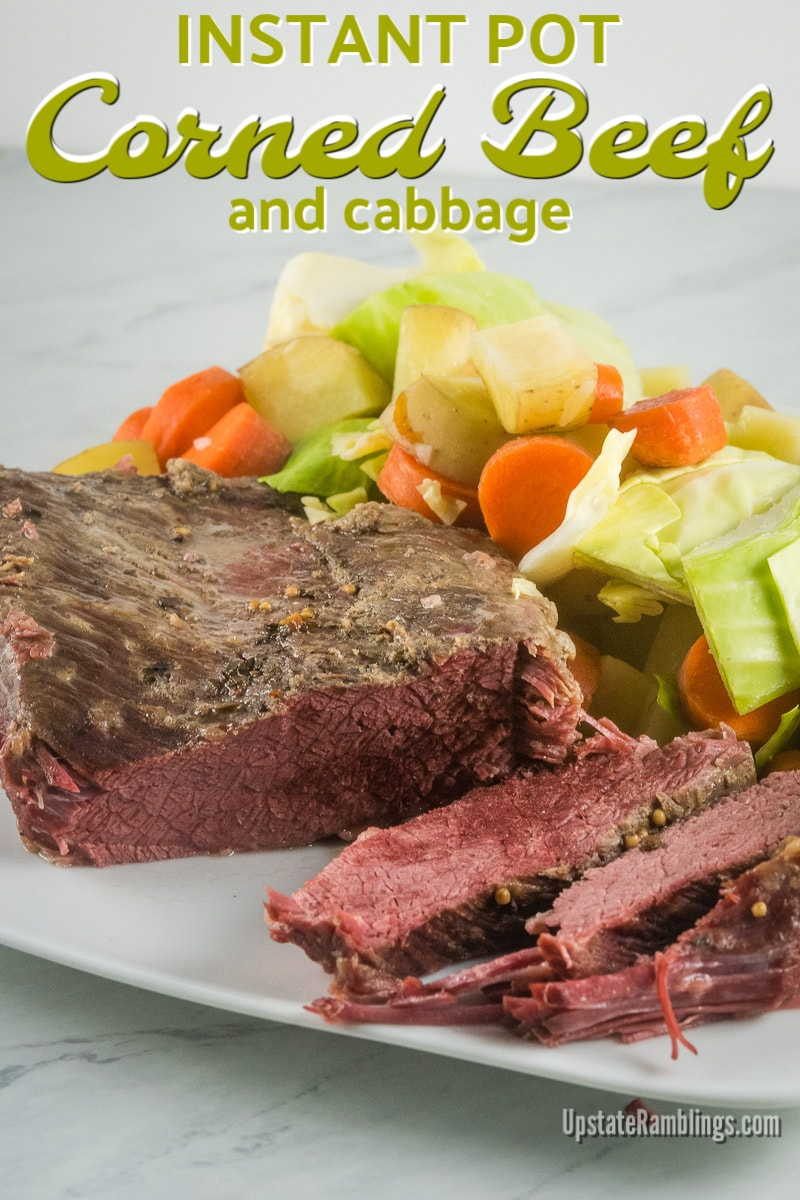 This Instant Pot Corned Beef and Cabbage recipe is served with carrots and potatoes for a perfect St. Patrick's Day celebration. Cooking corned beef and cabbage in an electric pressure cooker means this traditional Irish dinner will be ready in less time than other cooking methods for a quick and easy one pot meal. #cornedbeef #Instantpot