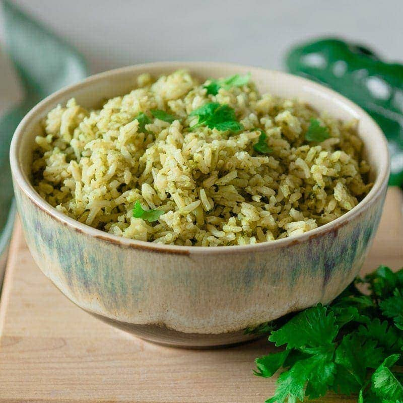 Bowl of Intstant Pot green rice - side dish for tacos