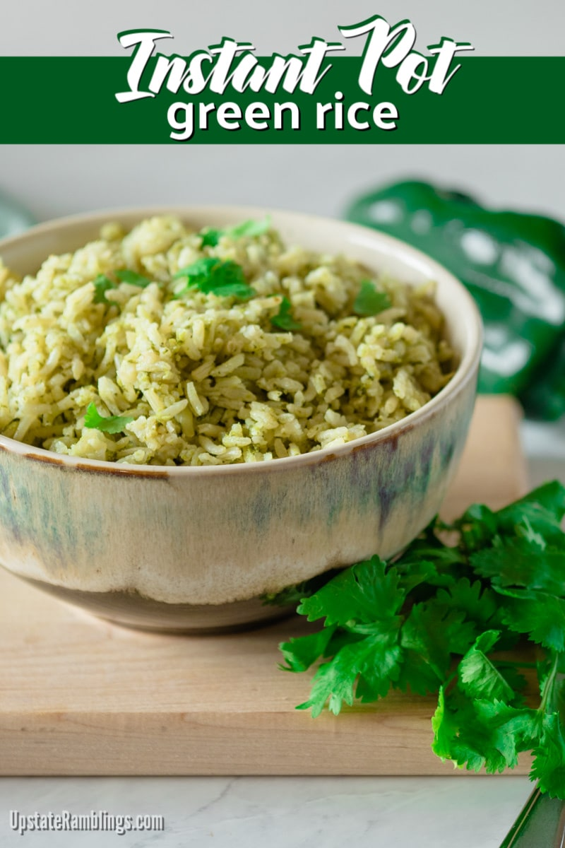 Green rice, or arroz verde, is a traditional vibrant green Mexican rice dish that is full of the flavor of poblano chiles and cilantro. Making the dish in the Instant Pot makes it a quick and easy side dish for tacos or burritos. Make this for Cinqo de Mayo! #mexicanrice #greenrice #arrozverde