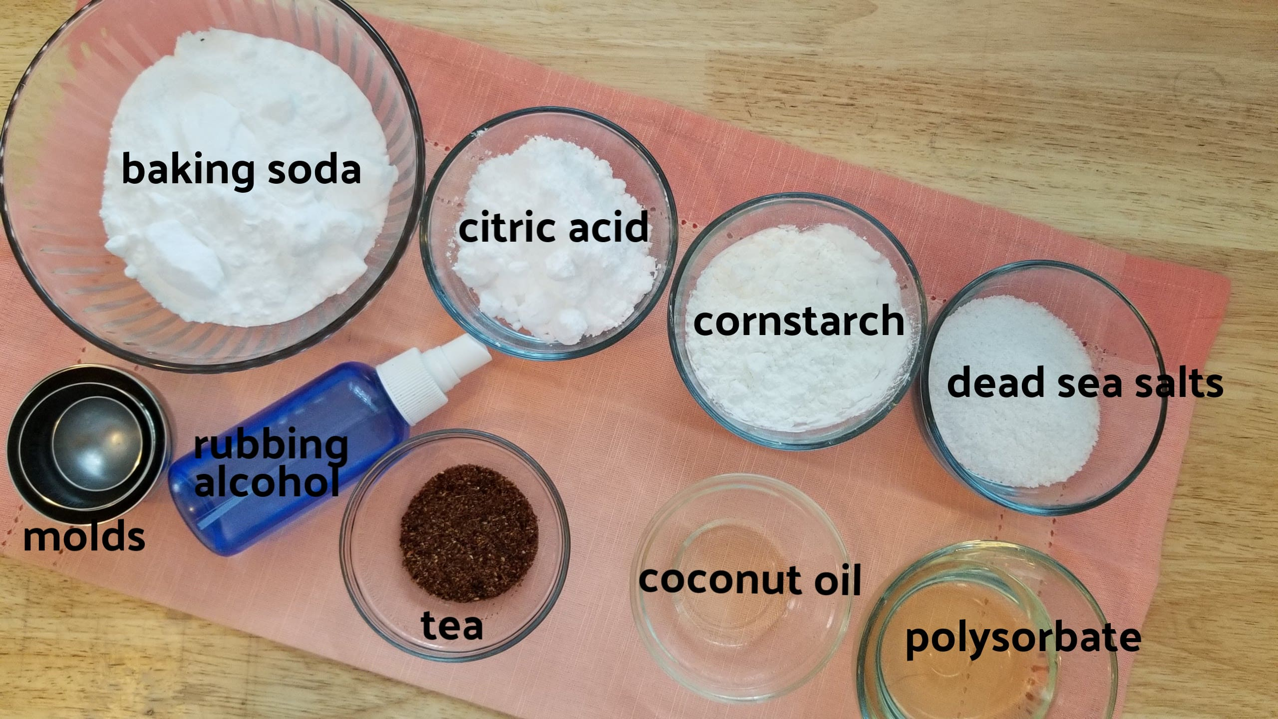 Ingredients for making tea infused bath bombs