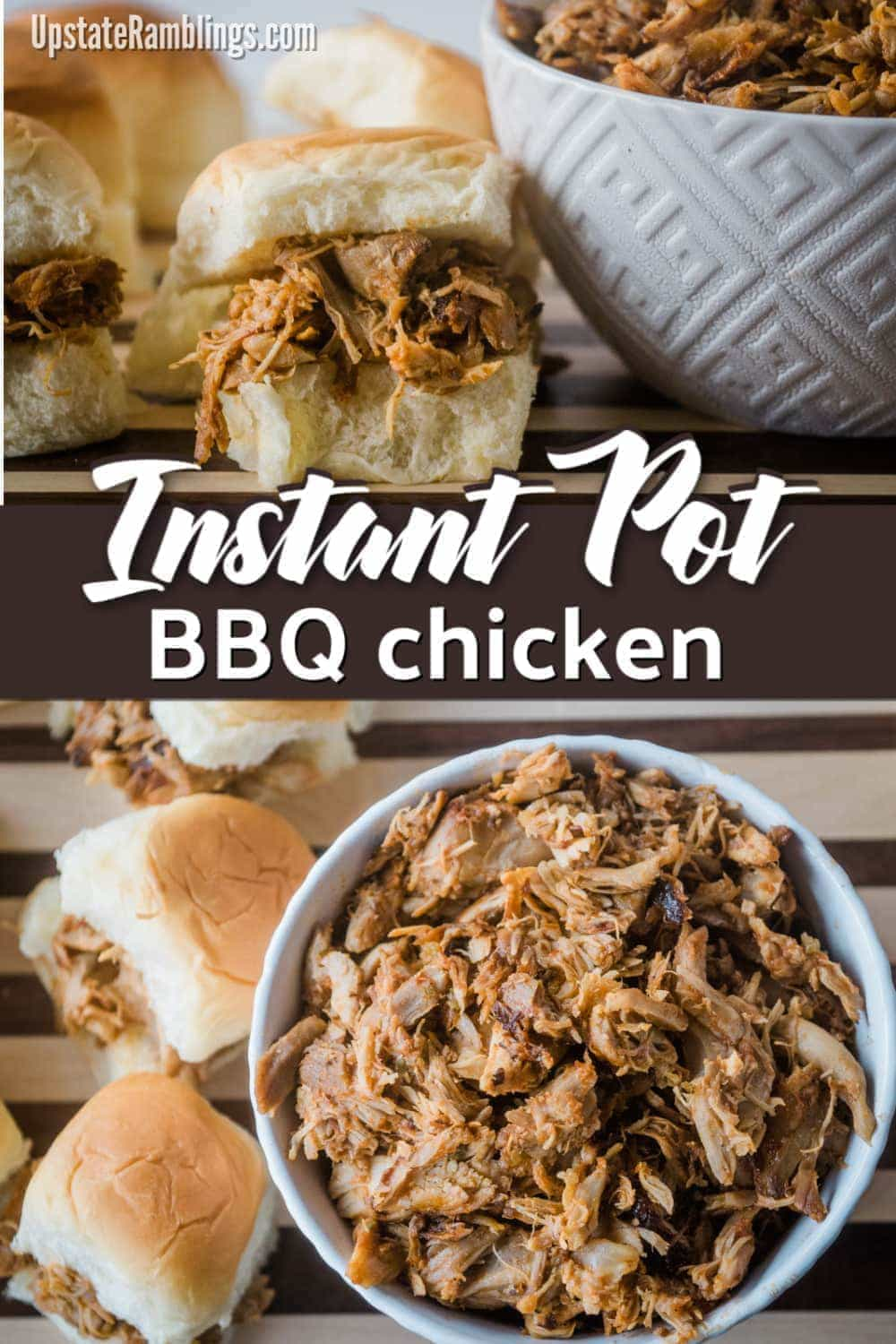 This easy recipe makes perfectly shredded Instant Pot BBQ chicken in your pressure cooker. With four basic ingredients and only 30 minutes you can have summer BBQ flavor anytime! Perfect for sandwiches, sliders or weekly meal prep. #InstantPot #BBQ #chicken