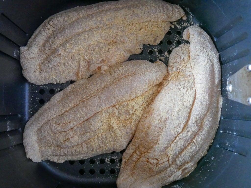 3 catfish fillets in air fryer basket