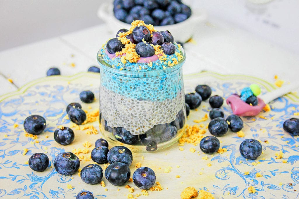 Glass jar of blueberry chia pudding surrounded by blueberries