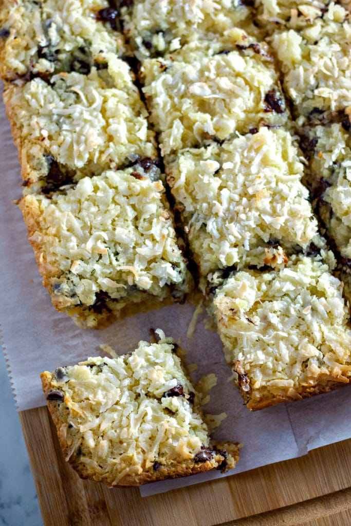 coconut bar cookies with chocolate chips cut into squares