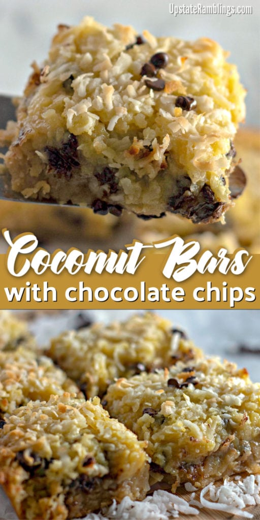 These buttery coconut bars with chocolate chips are an easy dessert filled with lots of coconut and a little bit of chocolate. A soft shortbread crust is topped off with a rich coconut and chocolate layer! This is a great recipe to share with friends for your next picnic or potluck supper. #coconut #barcookies #chocolate