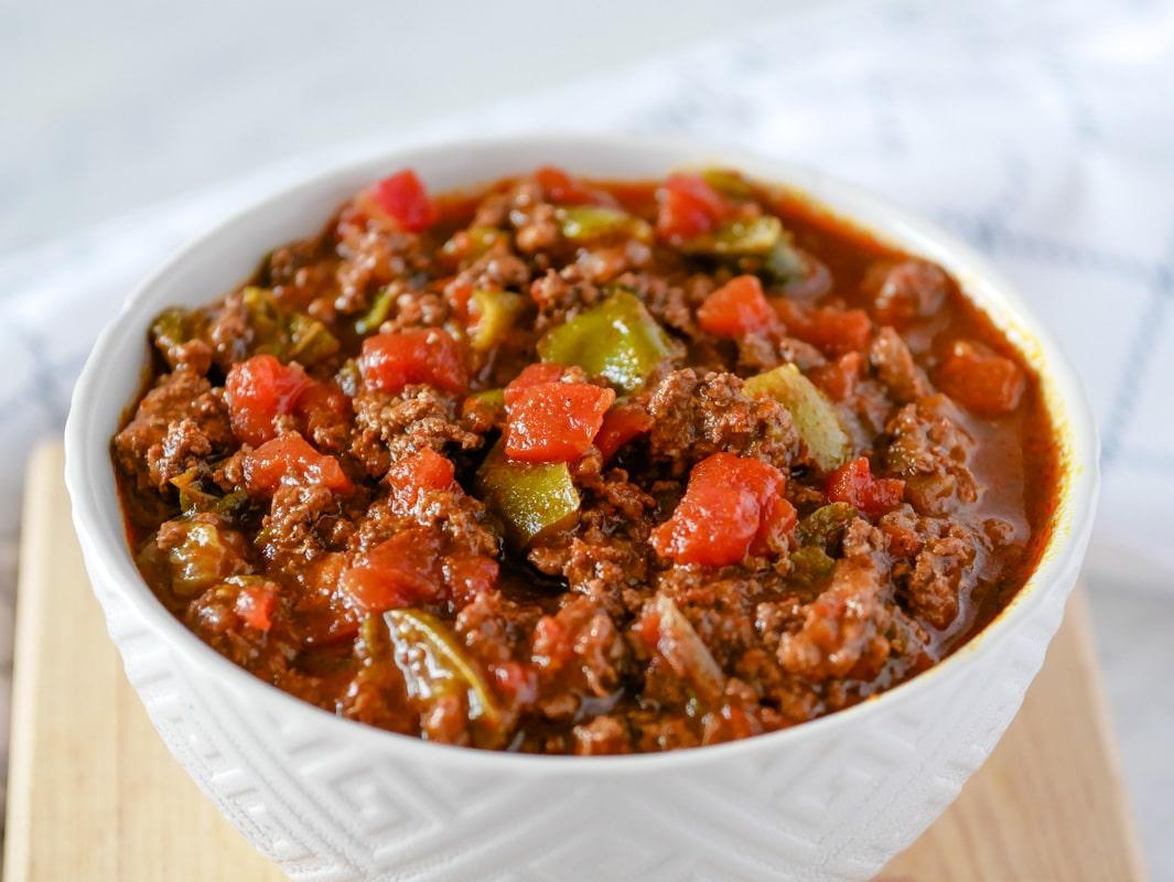 Bowl of Cincinnati chili made in a pressure cooker