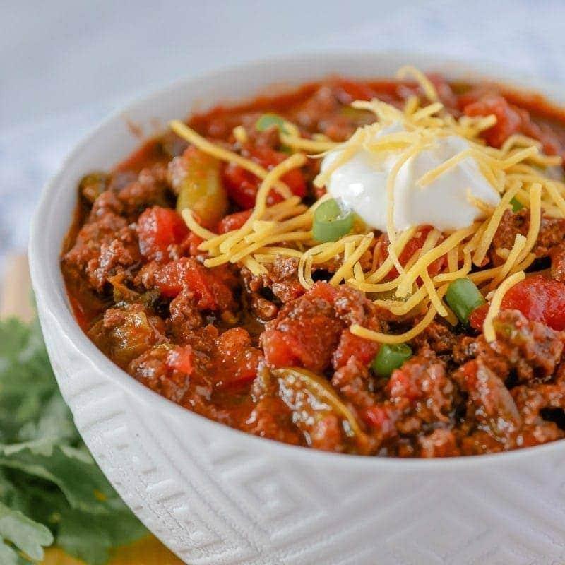 Big bowl of Instant Pot chili