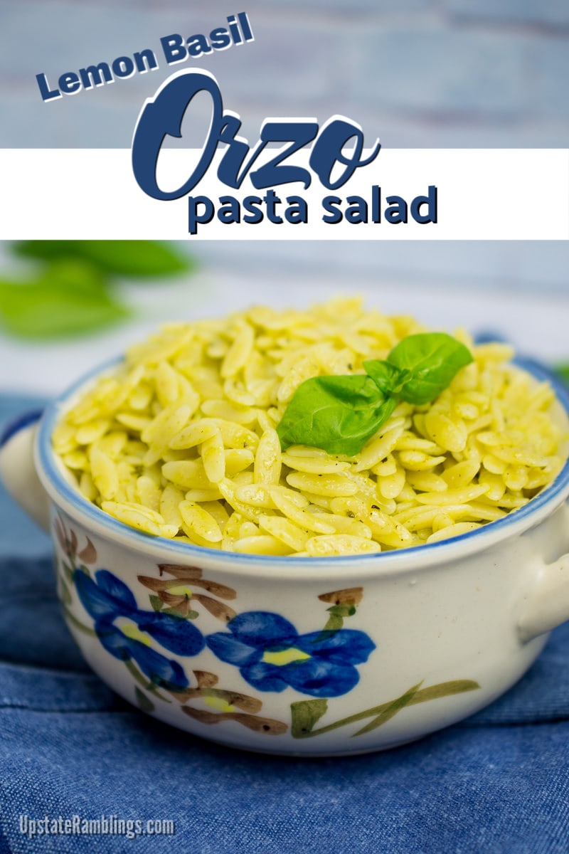 crock full of lemon basil orzo pasta salad