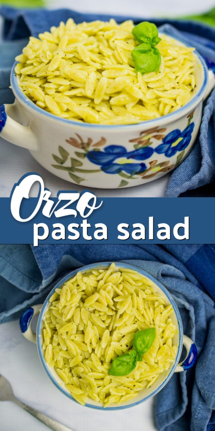This tasty lemon basil orzo pasta salad is an easy summer dish! It has only a handful of ingredients but is filled with fresh flavor thanks to the lemon and basil dressing. Excellent for taking along your next cookout or outdoor barbecue. #orzo #pastasalad #cookout