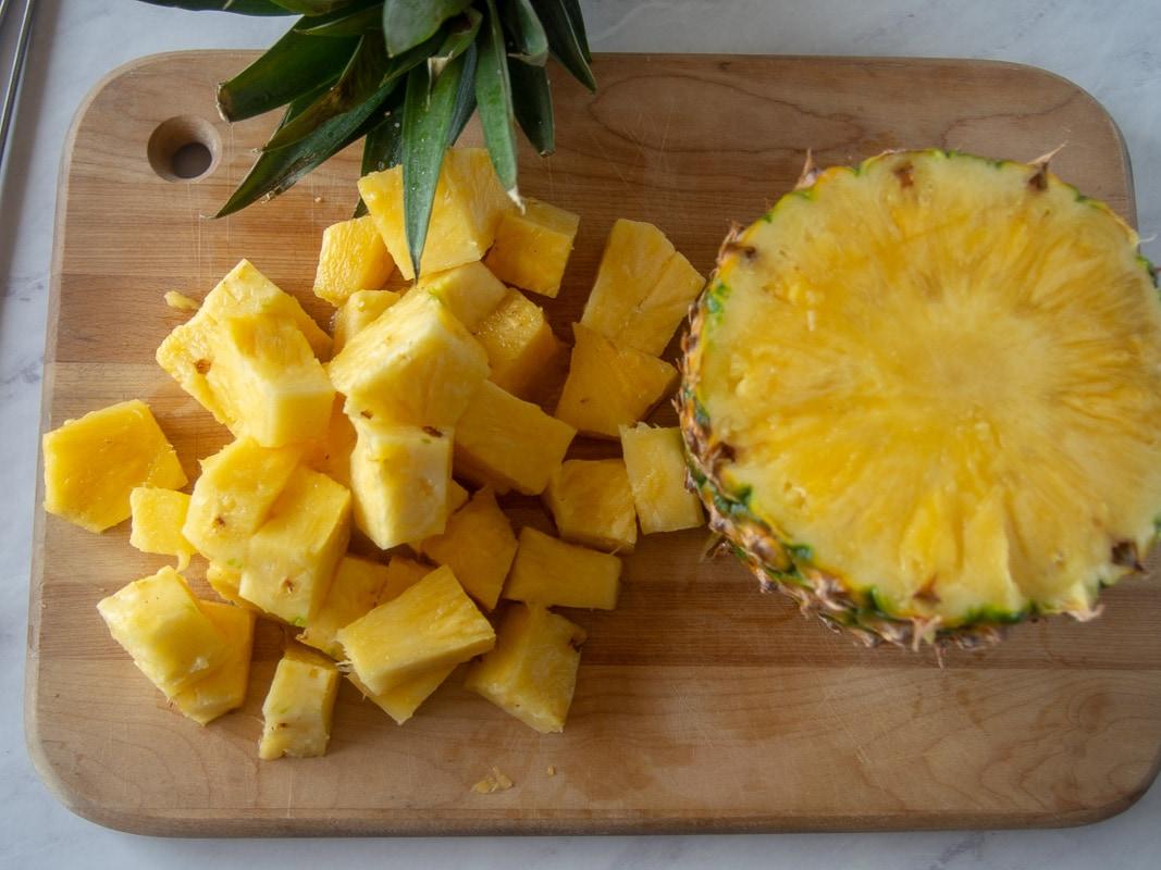 Slicing pineapple for pork kebobs