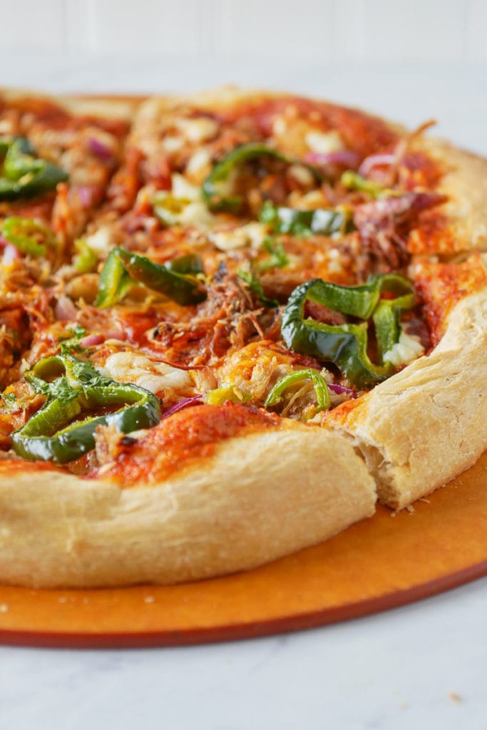 BBQ pizza with pulled pork and jalapenos