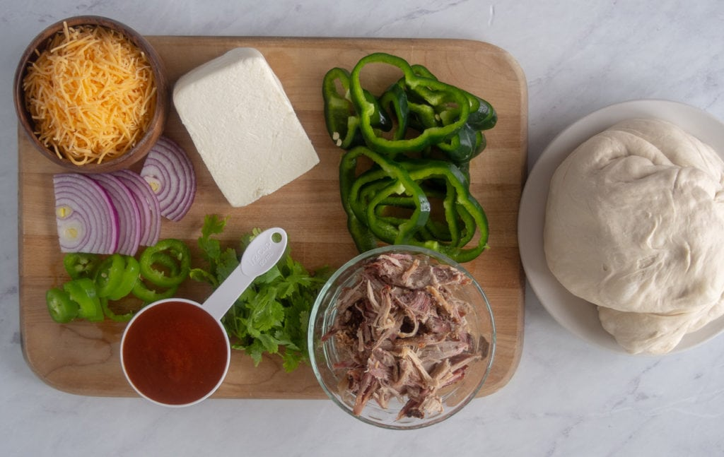 ingredients for pulled pork pizza