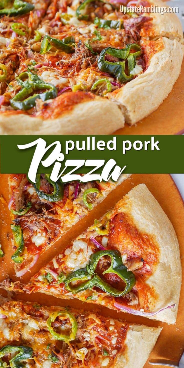 This BBQ Pulled Pork Pizza is a delicious way to use leftover pulled pork and makes a quick and easy family dinner. Store bought pizza dough is topped with pulled pork, BBQ sauce, onions, peppers and cheese - this barbecue pizza is sure to be family favorite meal! #pizza #pulledpork #BBQpizza
