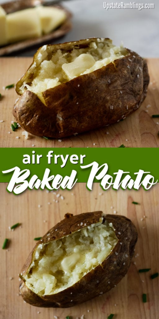 This quick and easy air fryer baked potato is a perfect baked potato every time. When you bake a potato in the air fryer it is crispy on the outside and light and fluffy inside in half the time it would take to bake in the oven. Easy side dish ready in about 30 minutes! #airfryer #bakedpotato #bakedpotatoes