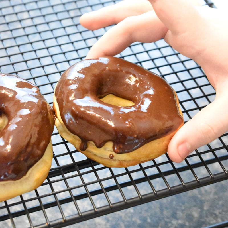 air fryer donuts with chocolate on top