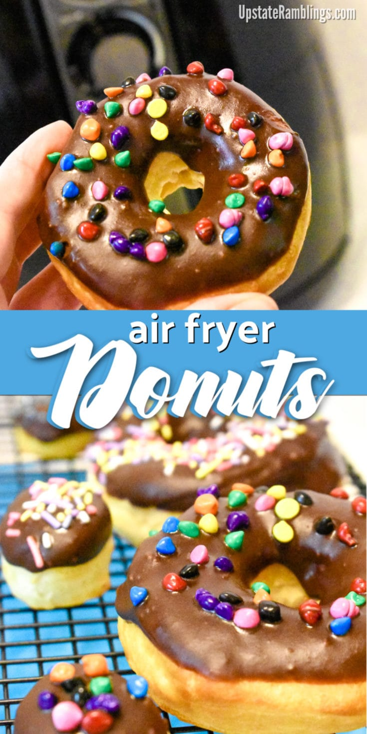 Make these quick and easy air fryer donuts from refrigerator biscuits for a simple yet delicious dessert. These donuts are dipped in chocolate glaze and covered in sprinkles making them a fun dessert for kids to make and eat. #airfryer #donuts #chocolate