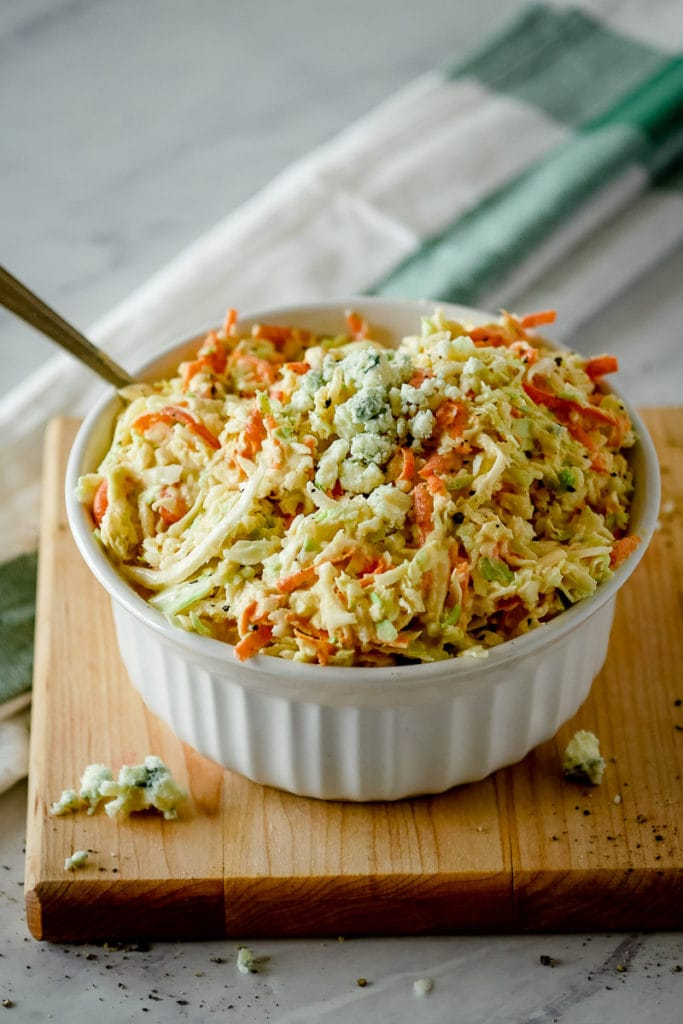 Blue cheese creamy coleslaw in a bowl