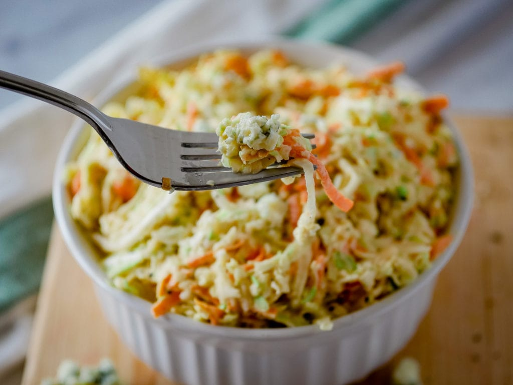 Blue cheese coleslaw on a fork