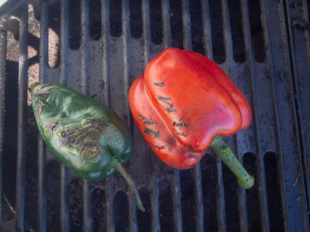 red pepper and poblano pepper on grill