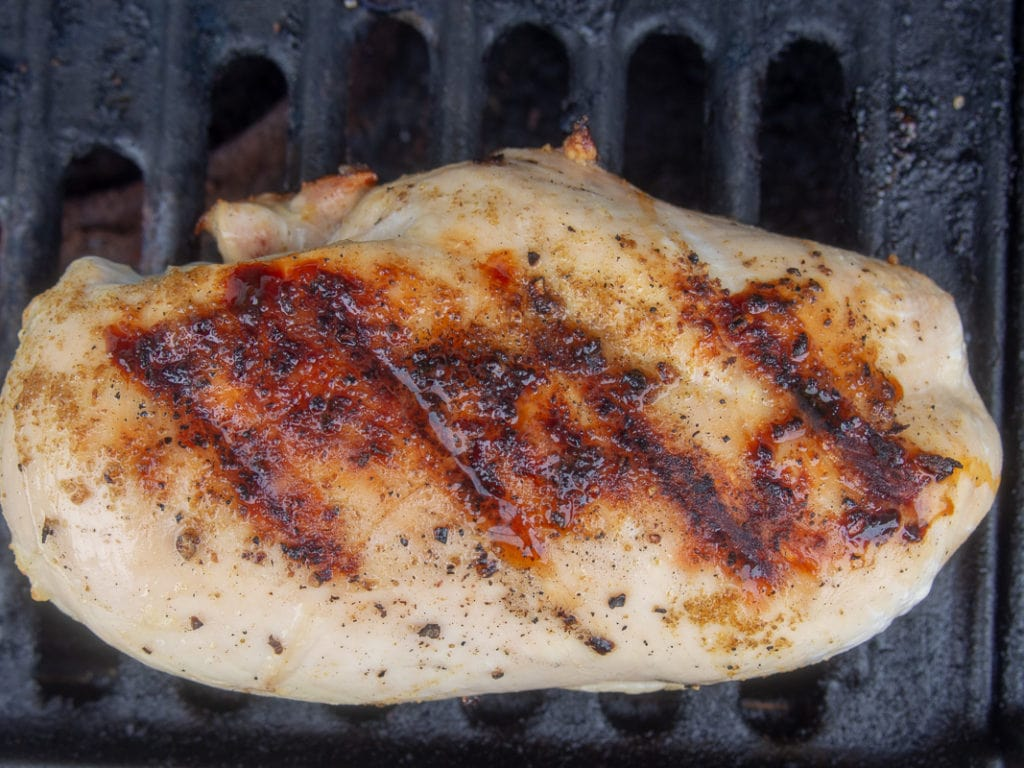 Grilled chicken on the grill