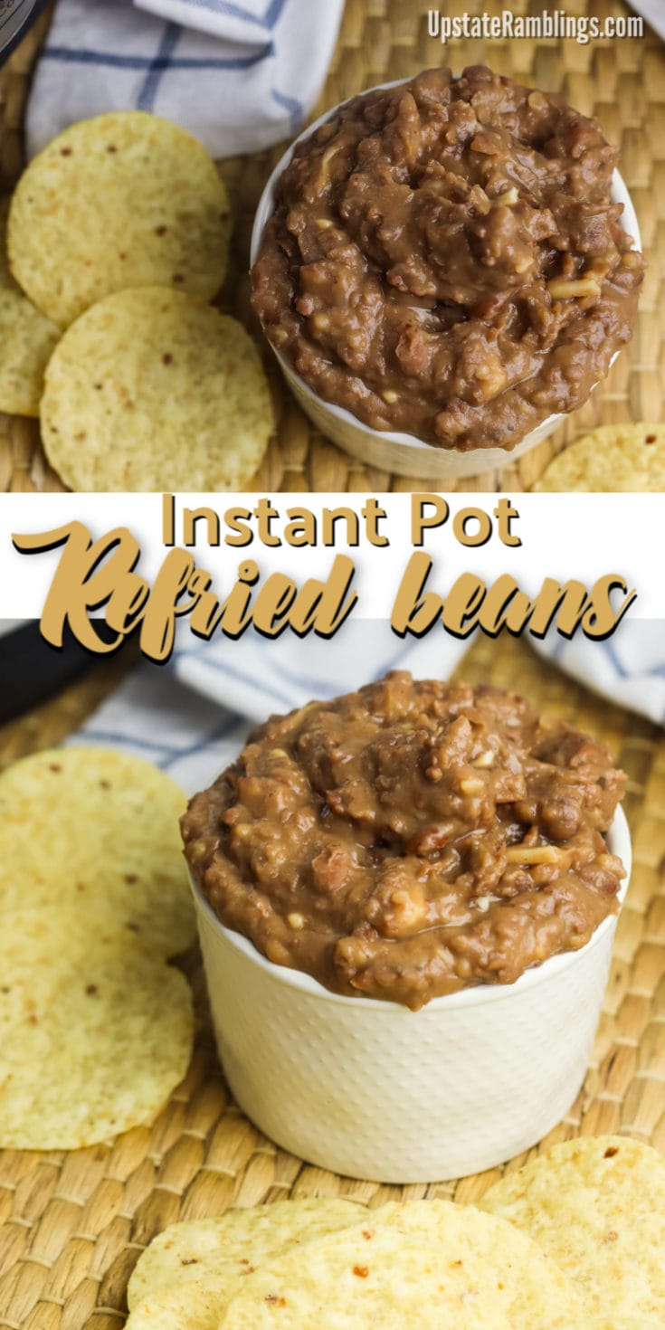 This easy recipe for Instant Pot refried beans lets you make delicious, healthy, refried beans. This side dish is creamy, flavorful, inexpensive and makes the perfect side dish for taco Tuesday and any other Mexican meals. #refriedbeans #InstantPot #pressurecooker #Mexican