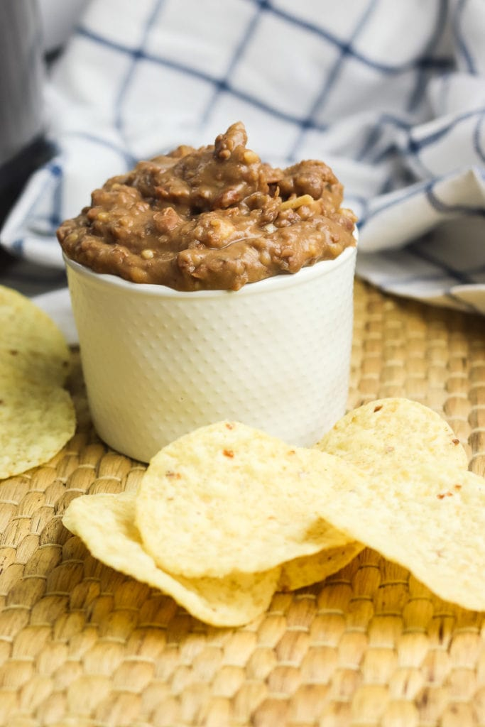 Refried beans made in a pressure cooker in a bowl