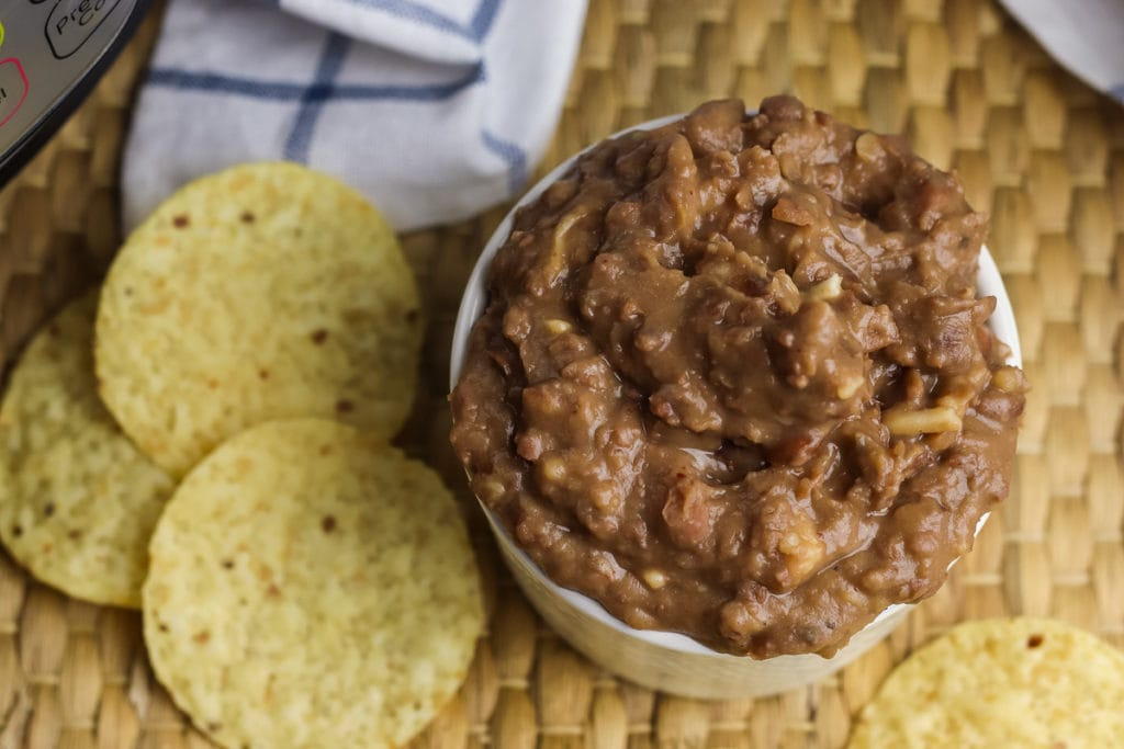 Instant pot refried beans from overhead