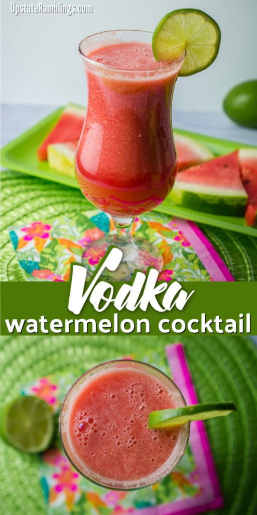 This vodka watermelon cocktail is a perfect refreshing summer drink! With only three ingredients and about 125 calories this watermelon drink with vodka is an easy and delicious fresh summer beverage for a party or cookout. #watermeloncocktail #cocktail #vodka