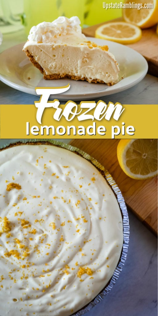 This frozen lemonade pie is a delicious no bake dessert. This simple recipe has only four ingredients and takes only five minutes to make! Cool off during the hot summer weather with this easy no bake lemonade pie. It has all the sweet and tart refreshing flavor of lemonade in pie form. #lemonade #lemonadepie #nobake