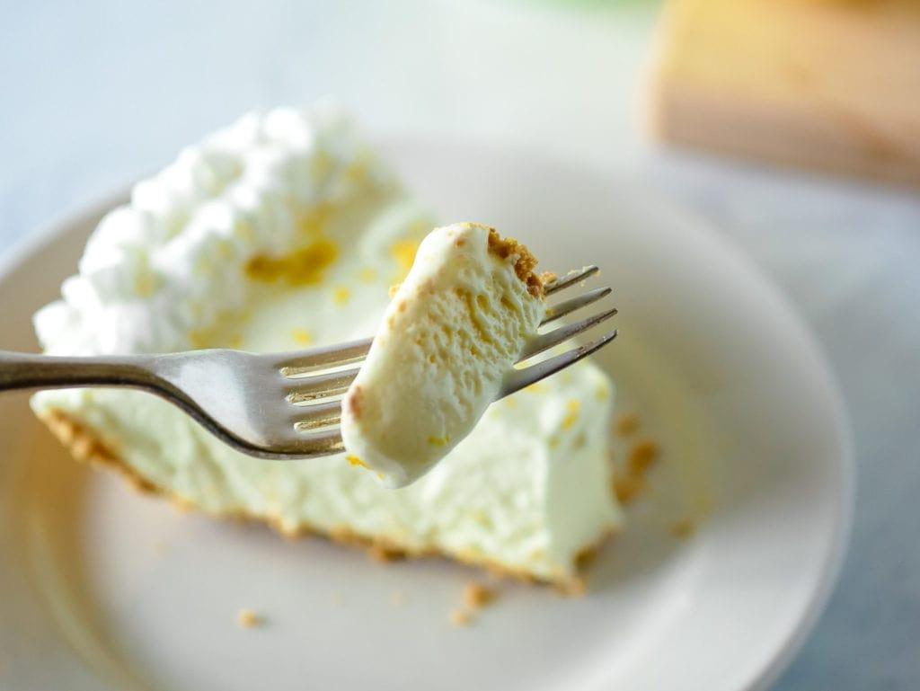 frozen lemonade pie on a fork