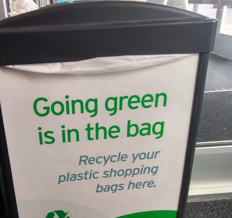 Bin for recycling plastic bags