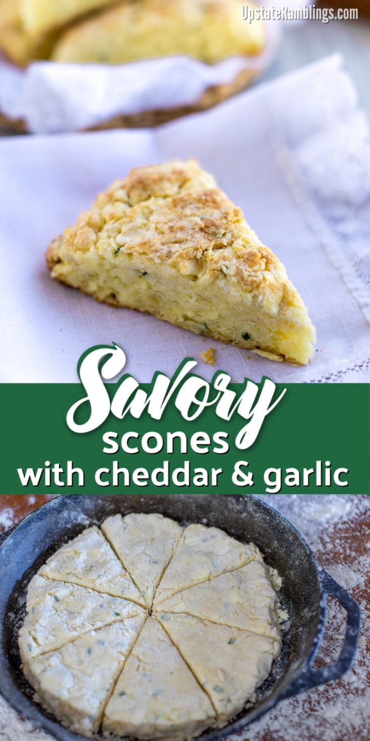 These savory scones with cheddar and garlic are a delicious addition to your next meal. Baked in a cast iron skillet they are garlicky and flaky and make an excellent side dish for a breakfast, brunch or a family dinner. Make savory scones instead of biscuits tonight! #scones #savoryscones #castironskillet