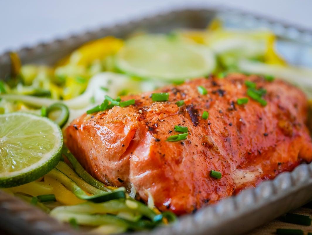 grilled salmon on a metal pan