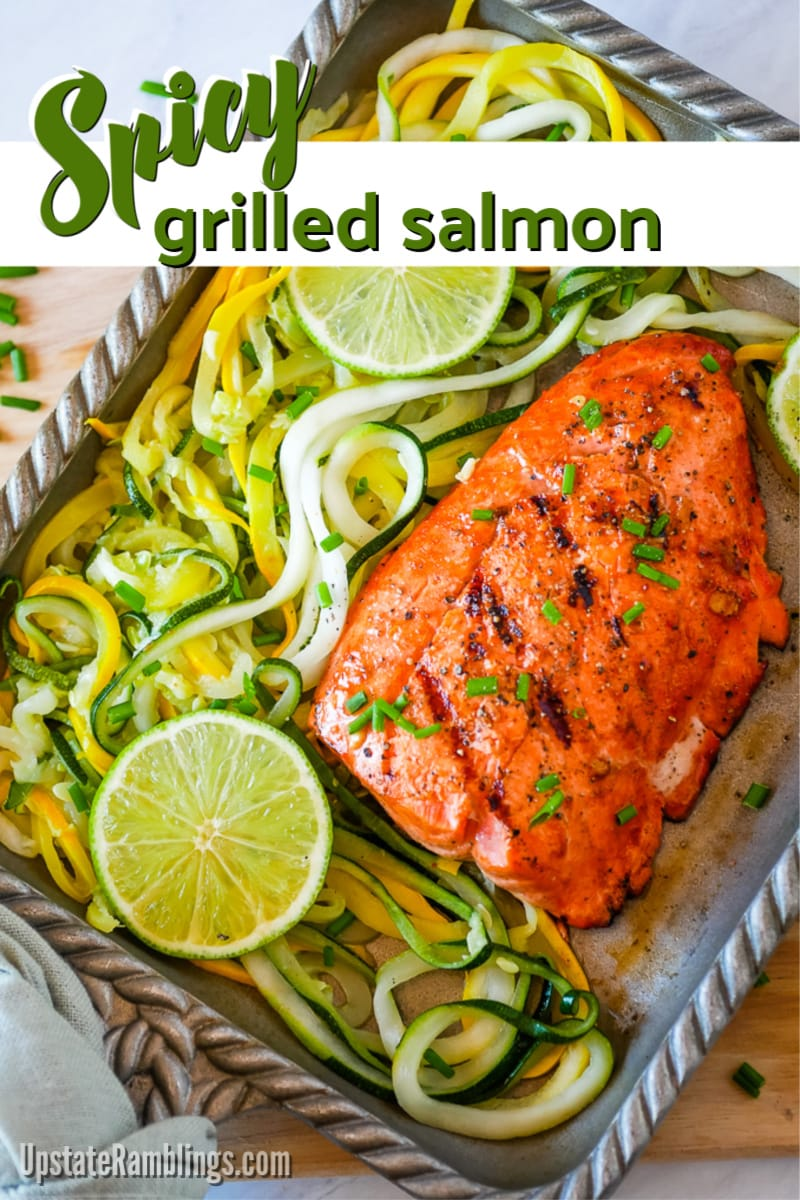 Spicy grilled salmon fillets - a fresh, spicy marinade adds flavor and taste to a salmon dinner! This quick and easy grilled salmon dinner will inspire you to fire up the grill this summer. Add a little heat to your seafood dinner with this quick spicy salmon marinade made from lime, hot sauce and honey. #ad #MarinadesWithMazola #MakeItWithHeart #grilledsalmon #marinade #salmon