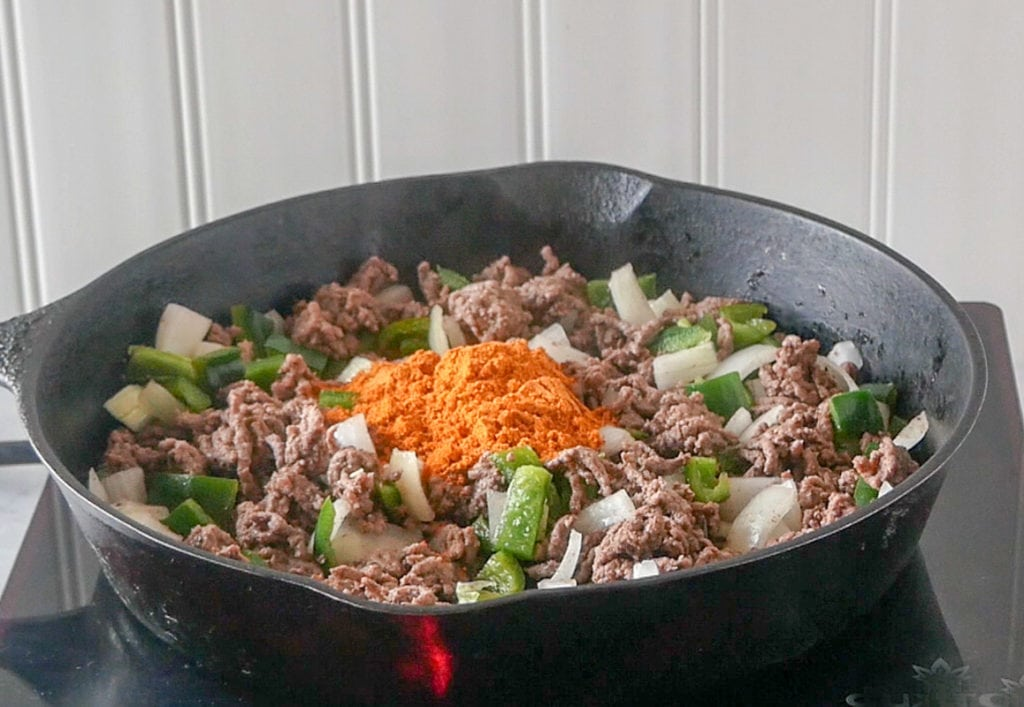 Making the taco rice skillet dinner