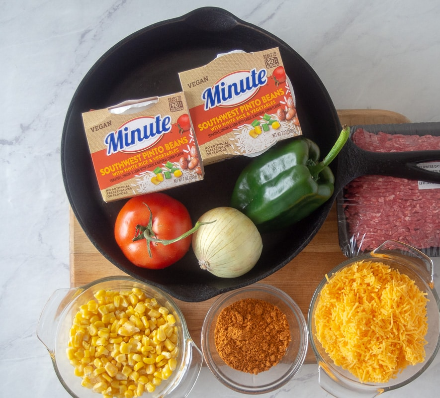 Ingredients for easy taco rice skillet