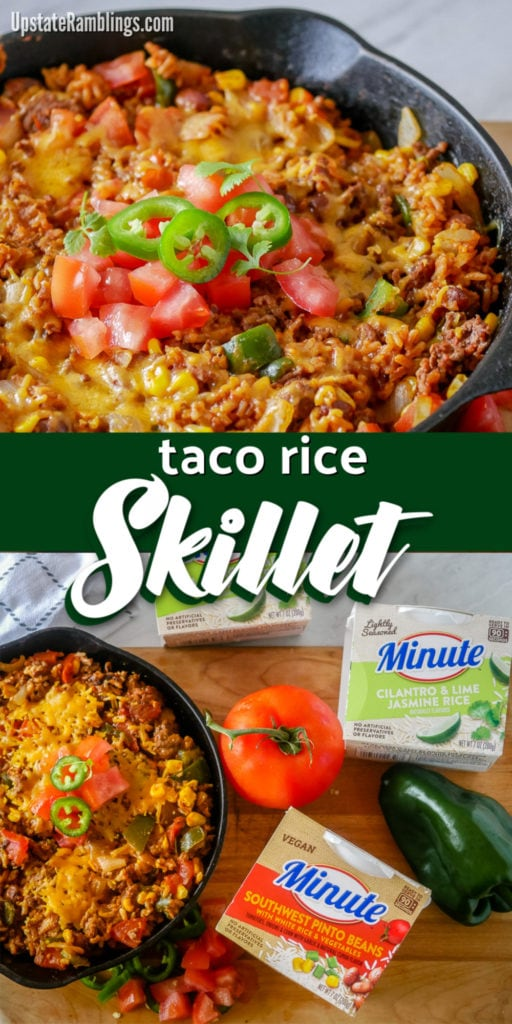 Make this quick and easy one dish taco rice skillet! #AD Dinner will be on the table in about 20 minutes with just 8 simple ingredients. Hearty beef, onion, poblano pepper and corn are combined with rice and topped with cheese. It is a delicious dinner your family will love @Walmart @minutericeus  #MinuteRightNow